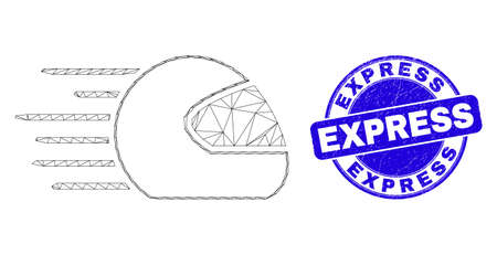 Web carcass speed motorcycle helmet pictogram and Express seal stamp. Blue vector rounded grunge seal stamp with Express phrase.