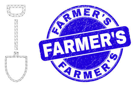 Web mesh shovel pictogram and FarmerS watermark. Blue vector round distress watermark with FarmerS title. Abstract frame mesh polygonal model created from shovel pictogram.
