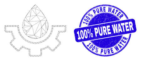 Web carcass water plumbing gear pictogram and 100% Pure Water stamp. Blue vector rounded grunge seal stamp with 100% Pure Water title.
