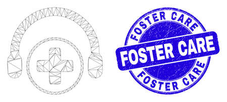 Web mesh medical assistance headphones icon and Foster Care stamp. Blue vector rounded distress stamp with Foster Care title.