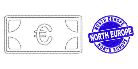 Web mesh euro banknotes income icon and North Europe stamp. Blue vector round distress seal stamp with North Europe title.