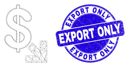 Web carcass export dollar pictogram and Export Only seal stamp. Blue vector rounded distress seal stamp with Export Only message.