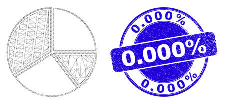 Web carcass pie chart icon and 0.000% seal stamp. Blue vector rounded scratched seal with 0.000% message. Abstract carcass mesh polygonal model created from pie chart icon. Иллюстрация