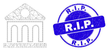 Web carcass library building pictogram and R.I.P. seal stamp. Blue vector rounded grunge seal stamp with R.I.P. message. Abstract carcass mesh polygonal model created from library building icon. Illustration
