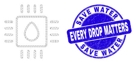 Web carcass liquid processor pictogram and Save Water Every Drop Matters seal stamp. Blue vector round grunge seal stamp with Save Water Every Drop Matters title.