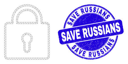Web mesh lock icon and Save Russians seal. Blue vector rounded distress seal with Save Russians caption. Abstract frame mesh polygonal model created from lock pictogram. Illustration