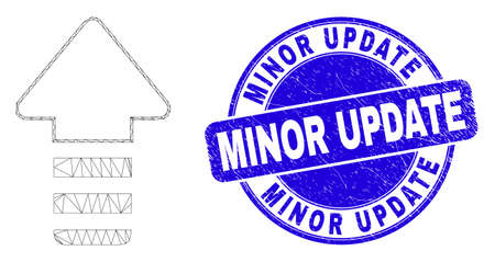 Web mesh update arrow icon and Minor Update stamp. Blue vector round grunge stamp with Minor Update message. Abstract carcass mesh polygonal model created from update arrow icon. Иллюстрация