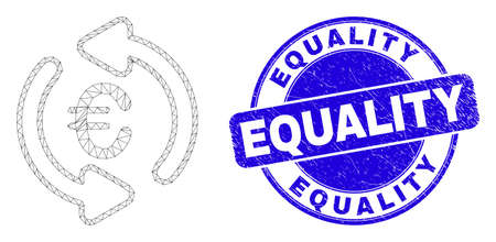 Web mesh update euro pictogram and Equality seal. Blue vector rounded textured seal with Equality phrase. Abstract carcass mesh polygonal model created from update euro pictogram.
