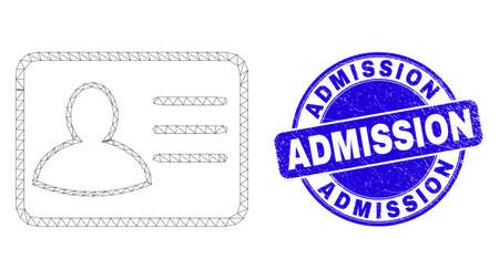 Web mesh user card icon and Admission seal stamp. Blue vector round grunge seal stamp with Admission text. Abstract carcass mesh polygonal model created from user card icon. Иллюстрация