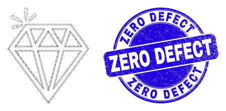 Web carcass spark brilliant icon and Zero Defect seal. Blue vector rounded distress stamp with Zero Defect phrase. Abstract carcass mesh polygonal model created from spark brilliant icon. Illustration