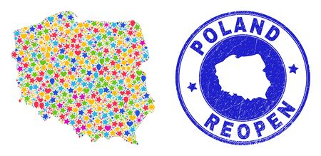 Celebrating Poland map mosaic and reopening rubber watermark. Vector collage Poland map is designed of scattered stars, hearts, balloons. Rounded crooked blue watermark with corroded rubber texture. Illustration