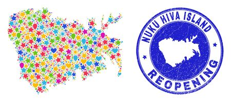 Celebrating Nuku Hiva Island map mosaic and reopening grunge stamp. Vector mosaic Nuku Hiva Island map is composed with randomized stars, hearts, balloons. Illustration