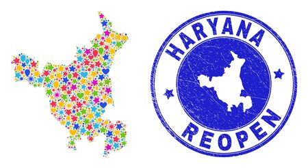 Celebrating Haryana State map collage and reopening unclean watermark. Vector collage Haryana State map is composed of random stars, hearts, balloons. Illustration