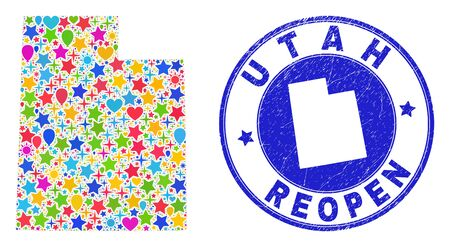 Celebrating Utah State map collage and reopening unclean stamp. Vector collage Utah State map is made of random stars, hearts, balloons. 向量圖像