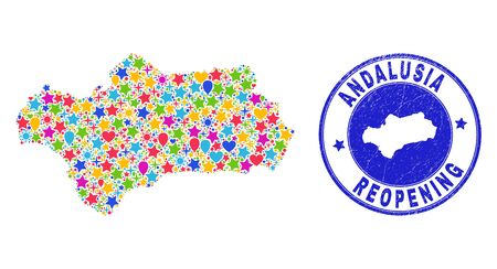 Celebrating Andalusia Province map mosaic and reopening textured stamp seal. Vector mosaic Andalusia Province map is organized of random stars, hearts, balloons.