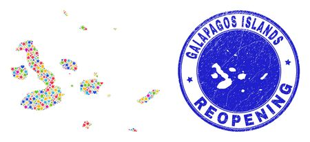 Celebrating Galapagos Islands map collage and reopening grunge stamp seal. Vector mosaic Galapagos Islands map is constructed from scattered stars, hearts, balloons.