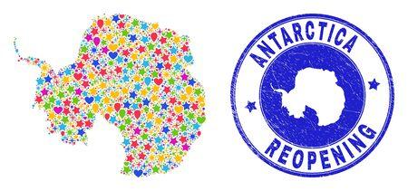 Celebrating Antarctica continent map mosaic and reopening unclean watermark. Vector mosaic Antarctica continent map is created of randomized stars, hearts, balloons. Illustration