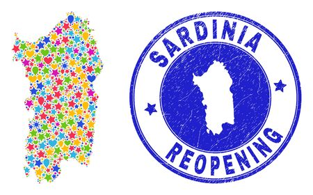 Celebrating Sardinia map collage and reopening scratched stamp. Vector collage Sardinia map is done of random stars, hearts, balloons. Rounded awry blue watermark with scratched rubber texture.
