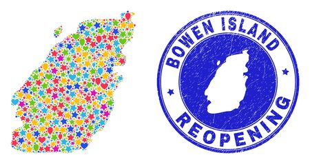 Celebrating Bowen Island map mosaic and reopening scratched stamp seal. Vector mosaic Bowen Island map is done with random stars, hearts, balloons. 向量圖像