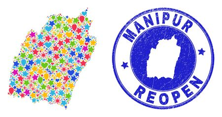 Celebrating Manipur State map mosaic and reopening unclean watermark. Vector mosaic Manipur State map is made of scattered stars, hearts, balloons. Illustration