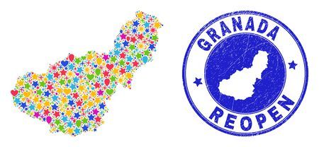 Celebrating Granada Province map collage and reopening corroded watermark. Vector mosaic Granada Province map is done of random stars, hearts, balloons. Illustration