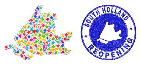 Celebrating South Holland map mosaic and reopening rubber stamp. Vector mosaic South Holland map is composed of random stars, hearts, balloons. Rounded awry blue seal with distress rubber texture.