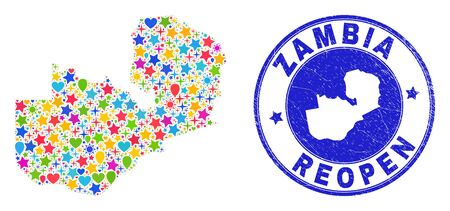 Celebrating Zambia map mosaic and reopening scratched seal. Vector mosaic Zambia map is designed with randomized stars, hearts, balloons. Rounded rough blue seal with distress rubber texture.