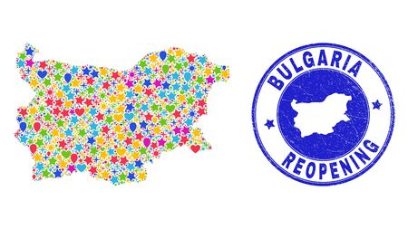 Celebrating Bulgaria map collage and reopening rubber seal. Vector mosaic Bulgaria map is constructed with scattered stars, hearts, balloons. Rounded rough blue seal with corroded rubber texture. 向量圖像