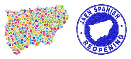 Celebrating Jaen Spanish Province map collage and reopening rubber seal. Vector collage Jaen Spanish Province map is formed with random stars, hearts, balloons.