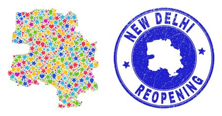 Celebrating New Delhi City map mosaic and reopening textured seal. Vector mosaic New Delhi City map is created of randomized stars, hearts, balloons. Ilustração