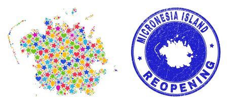 Celebrating Micronesia island map collage and reopening rubber stamp. Vector collage Micronesia island map is created of random stars, hearts, balloons.