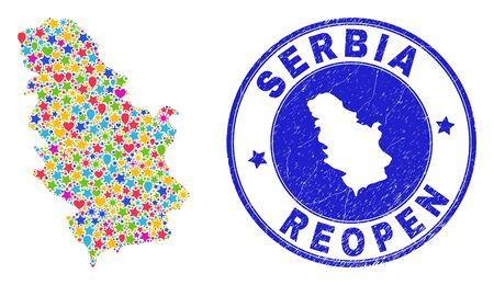 Celebrating Serbia map mosaic and reopening scratched stamp seal. Vector mosaic Serbia map is made of randomized stars, hearts, balloons. Rounded wry blue stamp imprint with distress rubber texture.