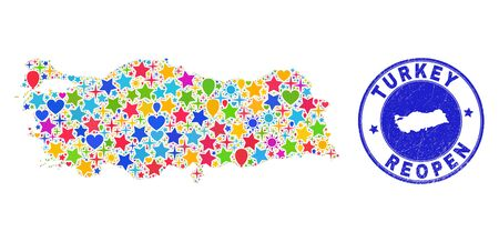 Celebrating Turkey map collage and reopening scratched watermark. Vector collage Turkey map is done with randomized stars, hearts, balloons.