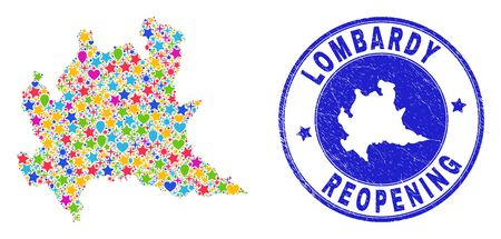 Celebrating Lombardy region map collage and reopening rubber stamp. Vector collage Lombardy region map is created from random stars, hearts, balloons.