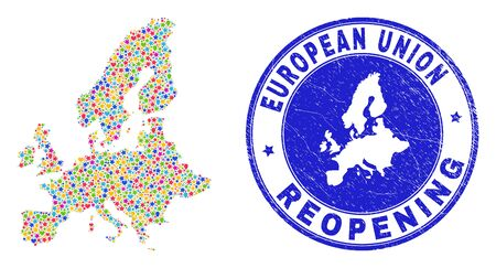 Celebrating European Union map mosaic and reopening unclean stamp seal. Vector mosaic European Union map is designed from random stars, hearts, balloons.