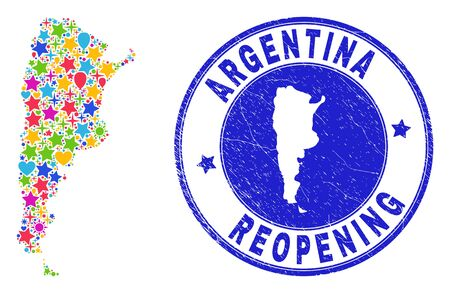 Celebrating Argentina map collage and reopening dirty stamp seal. Vector collage Argentina map is organized of random stars, hearts, balloons. Rounded crooked blue seal with distress rubber texture. Illustration