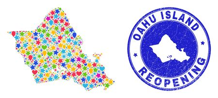 Celebrating Oahu Island map collage and reopening rubber stamp. Vector collage Oahu Island map is done with randomized stars, hearts, balloons. Illustration