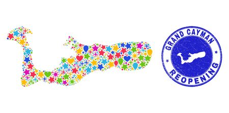 Celebrating Grand Cayman Island map mosaic and reopening unclean seal. Vector mosaic Grand Cayman Island map is formed from randomized stars, hearts, balloons.