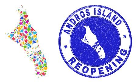 Celebrating Andros Island of Bahamas map mosaic and reopening rubber stamp. Vector mosaic Andros Island of Bahamas map is composed with randomized stars, hearts, balloons. Illustration