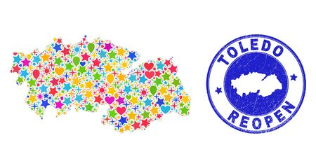 Celebrating Toledo Province map collage and reopening dirty watermark. Vector collage Toledo Province map is constructed with scattered stars, hearts, balloons.