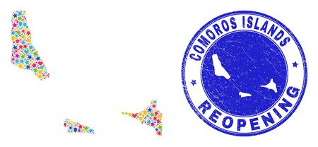 Celebrating Comoros Islands map mosaic and reopening rubber stamp. Vector mosaic Comoros Islands map is formed of random stars, hearts, balloons. Rounded wry blue seal with unclean rubber texture.