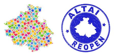 Celebrating Altai Republic map collage and reopening rubber watermark. Vector mosaic Altai Republic map is designed of random stars, hearts, balloons.