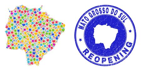 Celebrating Mato Grosso do Sul State map collage and reopening grunge stamp seal. Vector mosaic Mato Grosso do Sul State map is created of scattered stars, hearts, balloons.