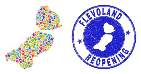 Celebrating Flevoland Province map collage and reopening rubber stamp seal. Vector collage Flevoland Province map is organized of scattered stars, hearts, balloons. Illustration