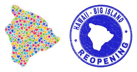 Celebrating Hawaii Big Island map collage and reopening corroded stamp seal. Vector collage Hawaii Big Island map is designed from random stars, hearts, balloons.
