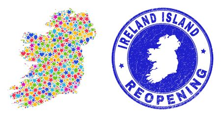 Celebrating Ireland Island map mosaic and reopening grunge stamp. Vector mosaic Ireland Island map is organized of randomized stars, hearts, balloons.