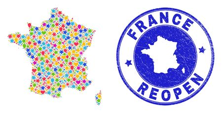 Celebrating France map collage and reopening grunge stamp seal. Vector collage France map is organized of scattered stars, hearts, balloons.