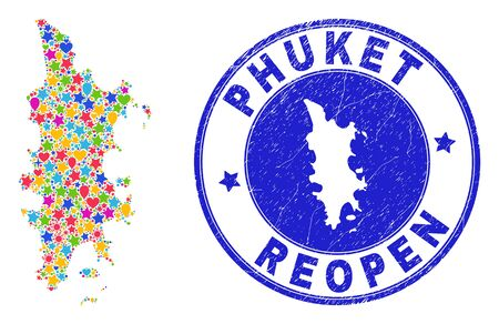 Celebrating Phuket map mosaic and reopening unclean stamp seal. Vector collage Phuket map is created of random stars, hearts, balloons. Rounded awry blue seal with scratched rubber texture. Illustration