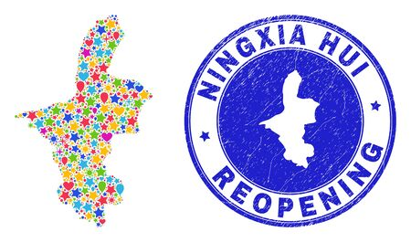 Celebrating Ningxia Hui Region map mosaic and reopening unclean stamp seal. Vector mosaic Ningxia Hui Region map is organized with random stars, hearts, balloons.