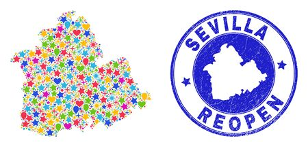 Celebrating Sevilla Province map collage and reopening grunge stamp seal. Vector collage Sevilla Province map is done with random stars, hearts, balloons.